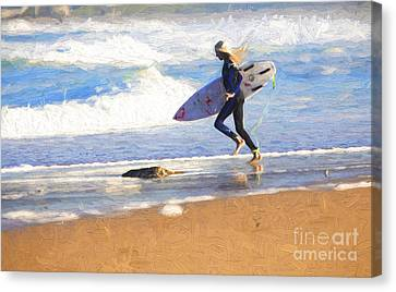 Surfing Girl Canvas Print by Avalon Fine Art Photography