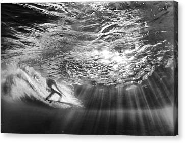 Surfing God Light Canvas Print by Sean Davey