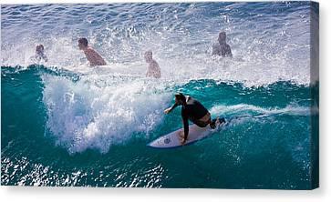 Surfing Maui Canvas Print by Adam Romanowicz