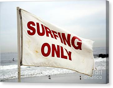 Surfing Only Canvas Print by John Rizzuto