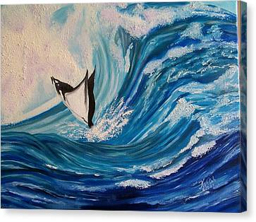 Surfing Stingray II Canvas Print by Kathern Welsh