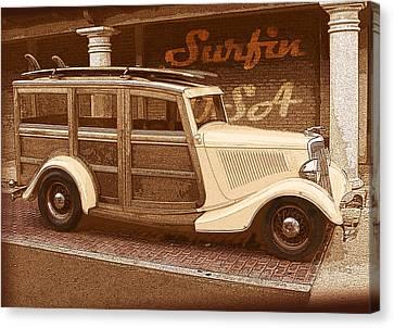 Surfing Usa Woodie Canvas Print by John Haldane