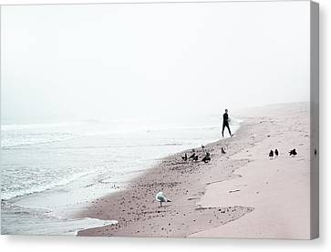 Surfing Where The Ocean Meets The Sky Canvas Print