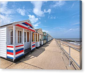 Surf's Up - Colorful Beach Huts Canvas Print by Gill Billington