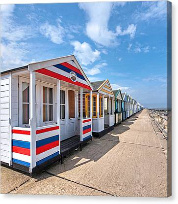Surf's Up - Colorful Beach Huts - Square Canvas Print by Gill Billington