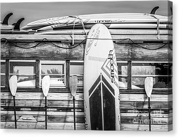 Surfs Up - Vintage Woodie Surf Bus - Florida - Black And White Canvas Print by Ian Monk