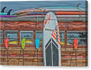Surfs Up - Vintage Woodie Surf Bus - Florida - Hdr Style Canvas Print by Ian Monk