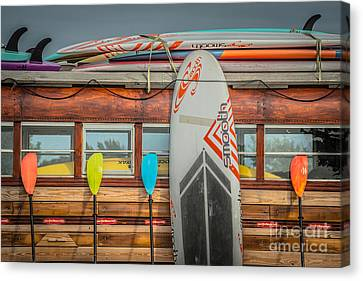 Surfs Up - Vintage Woodie Surf Bus - Florida Canvas Print by Ian Monk