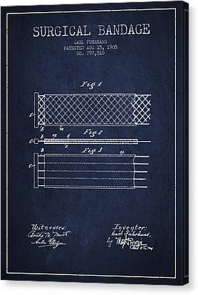 Surgical Bandage Patent From 1905- Navy Blue Canvas Print