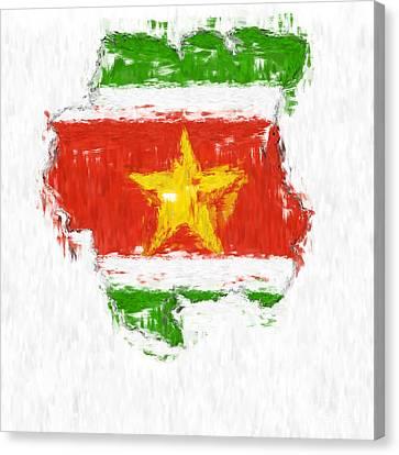 Suriname Painted Flag Map Canvas Print by Antony McAulay