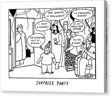 Surprise Party Canvas Print by Bruce Eric Kaplan