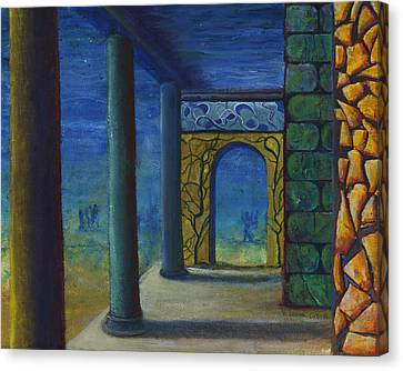 Surreal Art With Walls And Columns Canvas Print by Lenora  De Lude