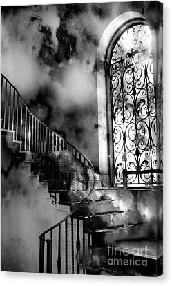 Surreal Black White Fantasy Staircase To Heaven Canvas Print by Kathy Fornal