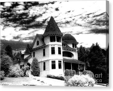 Surreal Black White Mackinac Island Michigan Home Canvas Print by Kathy Fornal