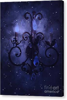 Surreal Blue Purple Chandelier Night Against Starry Blue Sky - Fantasy Blue Chandelier Art Canvas Print by Kathy Fornal