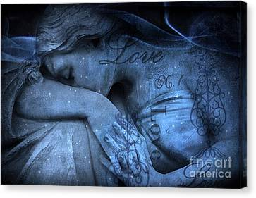 Surreal Blue Sad Mourning Weeping Angel Lost Love - Starry Blue Angel Weeping With Love Script Canvas Print