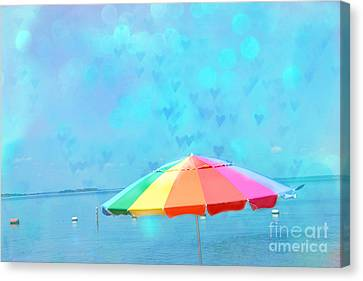 Surreal Blue Summer Beach Ocean Coastal Art - Beach Umbrella  Canvas Print by Kathy Fornal