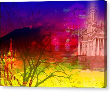 Canvas Print featuring the digital art Surreal Buildings  by Cathy Anderson