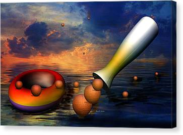 Surreal Dinner Served Over The Ocean Canvas Print by Angela A Stanton