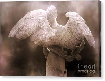 Surreal Dreamy Angel Art Wings - Ethereal Sepia Angel Art Wings Canvas Print by Kathy Fornal