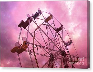Surreal Hot Pink Ferris Wheel Pink Sky - Carnival Art Baby Girl Nursery Decor Canvas Print by Kathy Fornal