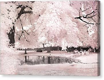 Surreal Dreamy Infrared Pink White Flamingo Park - Pink Infrared Fantasy Nature Canvas Print by Kathy Fornal