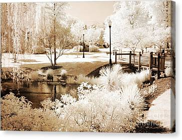 Surreal Infrared Sepia Nature Canvas Print - Surreal Dreamy Infrared Sepia Park Landscape by Kathy Fornal