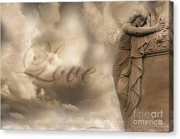 Surreal Dreamy Love Ethereal Sad Angel Cemetery Statue Sepia Clouds - Lost Love Canvas Print