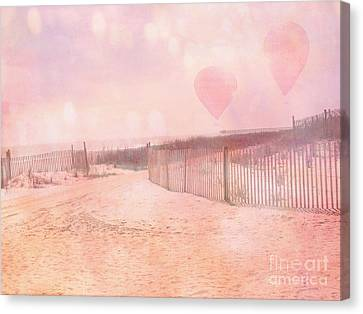 Surreal Dreamy Pink Coastal Summer Beach Ocean With Balloons Canvas Print by Kathy Fornal