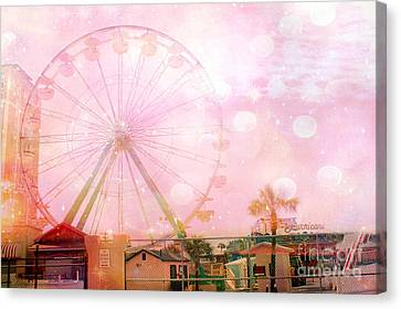 Surreal Dreamy Pink Myrtle Beach Ferris Wheel Canvas Print by Kathy Fornal
