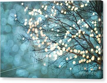 Surreal Dreamy Aqua Teal Fairylights Fantasy Sparkling Aqua Teal Blue Bokeh Nature Trees Canvas Print by Kathy Fornal