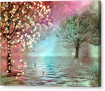 Surreal Dreamy Twinkling Fantasy Sparkling Nature Trees Canvas Print by Kathy Fornal