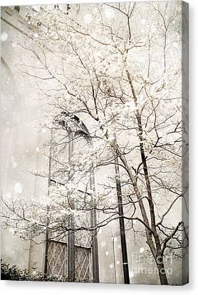 Surreal Dreamy Winter White Church Trees Canvas Print