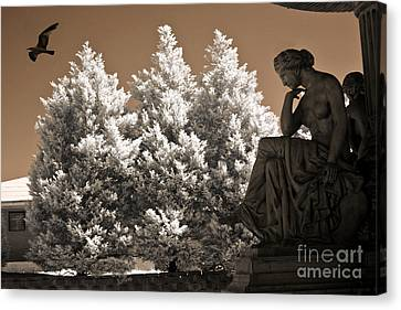 Surreal Infrared Sepia Nature Canvas Print - Surreal Ethereal Dreamy Infrared Sepia Female Statue Nature Ravens Landscape by Kathy Fornal