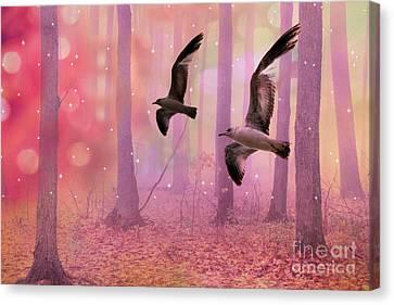 Surreal Fairytale Fantasy Nature Bird Woodland Landscape Canvas Print