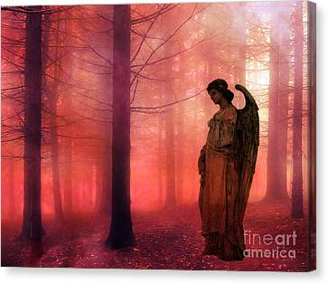 Surreal Fantasy Angel In Foggy Red Woodlands Canvas Print by Kathy Fornal