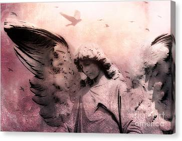 Surreal Fantasy Angel With Large Wings - Spiritual Ethereal Angel Art Canvas Print