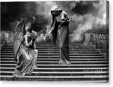 Surreal Fantasy Angels Weeping Black And White Print - Angels Cry Too Canvas Print