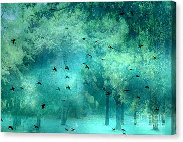 Surreal Fantasy Aqua Teal Woodlands Trees With Ravens Flying Canvas Print by Kathy Fornal
