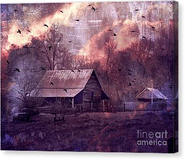 Surreal Fantasy Barn Landscape With Ravens Canvas Print by Kathy Fornal