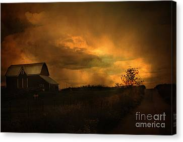 Surreal Fantasy Barn Sunset Nature Farm Landscape Canvas Print by Kathy Fornal