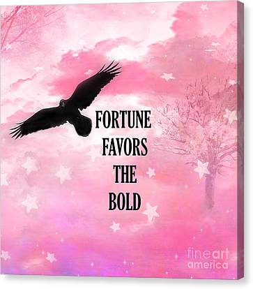 Surreal Fantasy Black Raven Crow Typography  Canvas Print by Kathy Fornal