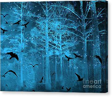 Starry Canvas Print - Surreal Fantasy Blue Woodlands Ravens And Stars - Fairytale Fantasy Blue Nature With Flying Ravens by Kathy Fornal