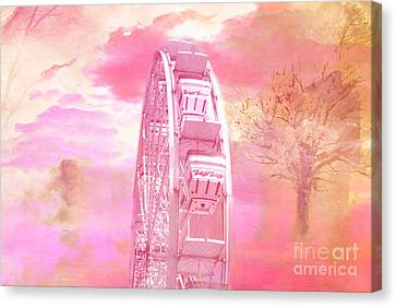 Surreal Fantasy Carnival Festival Fair Pink Yellow Ferris Wheel  Canvas Print by Kathy Fornal