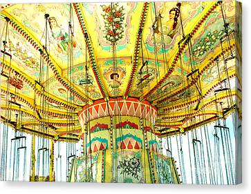 Surreal Fantasy Carnival Festival Fair Yellow Ferris Wheel Swing Ride  Canvas Print by Kathy Fornal