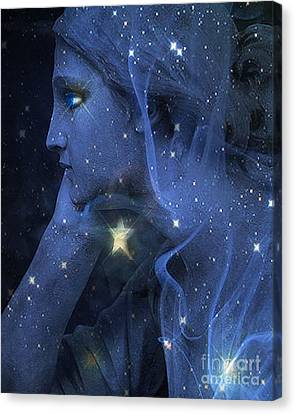Surreal Fantasy Celestial Blue Angelic Face With Stars Canvas Print by Kathy Fornal
