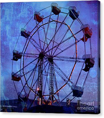 Surreal Fantasy Dark Blue Ferris Wheel Night Sky Canvas Print by Kathy Fornal