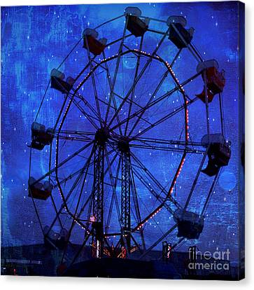 Surreal Fantasy Dark Blue Ferris Wheel Starry Night - Blue Ferris Wheel Carnival Decor Canvas Print by Kathy Fornal