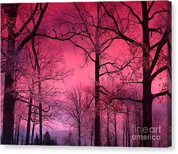 Surreal Fantasy Dark Pink Forest Woodlands Trees With Dark Pink Haunting Sky - Fantasy Pink Nature  Canvas Print by Kathy Fornal