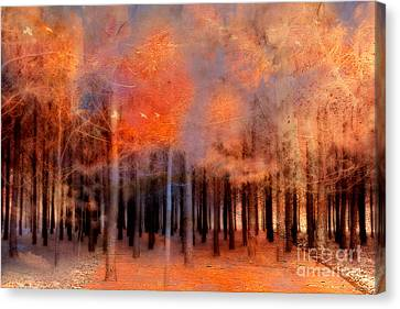 Nature Scene Canvas Print - Surreal Fantasy Ethereal Trees Autumn Fall Orange Woodlands Nature  by Kathy Fornal